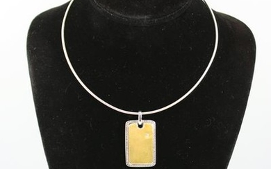 Modern Silver Necklace With Gold-Tone Pendant