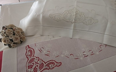 Museum !! Pure linen sheet with Burano di Venezia embroidery completely handmade. ECRU 'COLOR - Linen - After 2000