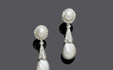 NATURAL PEARL AND DIAMOND EAR PENDANTS, ca. 1930.