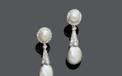 NATURAL PEARL AND DIAMOND EAR PENDANTS, ca. 1930....
