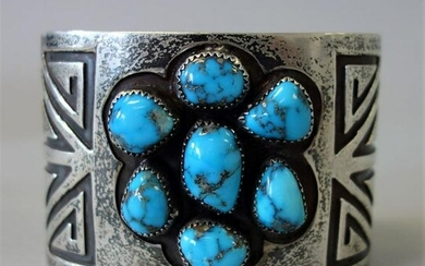 Navajo Sterling & Turquoise Cuff Bracelet, Signed