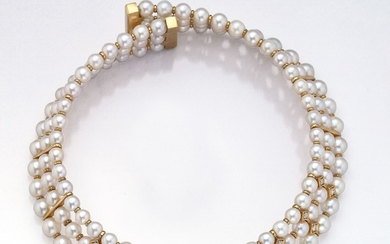 Necklace with cultured pearls and brilliants ,...