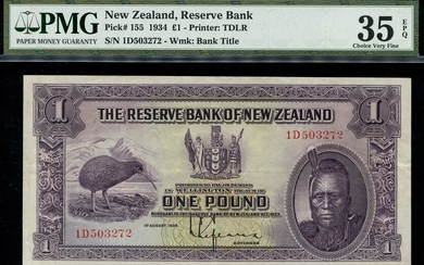 New Zealand Reserve Bank, £1, 1st August 1934, serial number 1D503272, (Pick 155, TBB B102a)