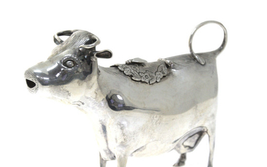 Novelty Sterling Silver Cow Form Creamer Milk Jug, William Comyns, London.
