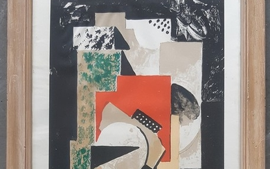 Olaf Rude: Composition. Usigned, circa 1920. Litograph in colours. Visible size 30×22 cm. Frame size 40.5×33 cm.