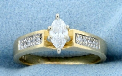 Over 1/3ct TW Marquise and Round Diamond Engagement