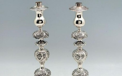 PAIR OF 19TH C. RUSSIAN SILVER CANDLESTICKS