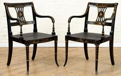 PAIR REGENCY STYLE OPEN ARM CHAIRS CANE SEATS