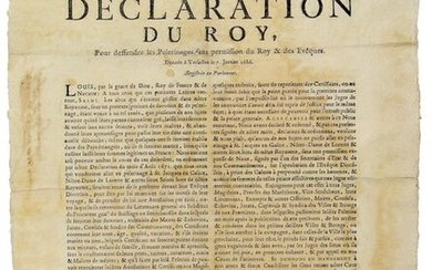 """PARIS. 1686. PILGRIMAGES. """"Declaration by the King, in defence of Pilgrimages without permission from the King & Bishops."""". Given at VERSAILLES on 7 January 1686. Registered in the Parliament of PARIS on 12 January 1686 """"under the pretext of devotion..."""