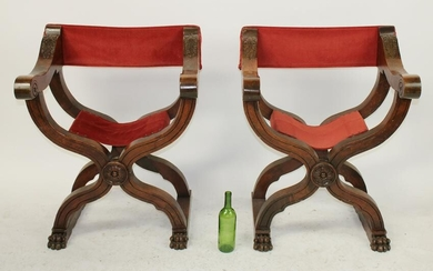 Pair Italian Savonarola chairs