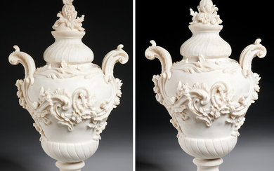 Pair large Louis XV style carved composition urns