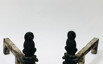 Pair of Cast Iron Dog-form Andirons, ht. 13, wd. 9, dp. 20 in.