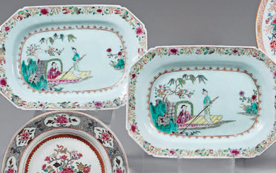 Pair of Chinese porcelain dishes. Qianlong, 18th century.