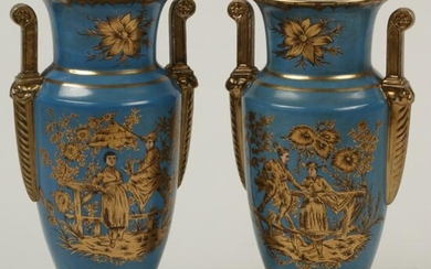 Pair of Empire Style Porcelain Vases with Chinoiserie