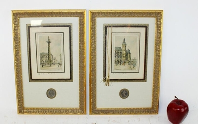 Pair of Frank Will hand colored etchings with coins