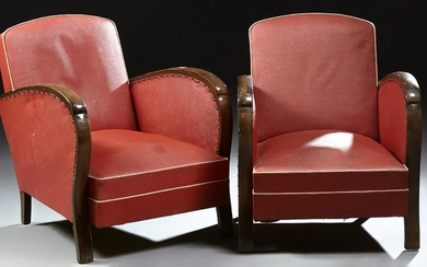 Pair of French Art Deco Beech Armchairs, c.1940 the