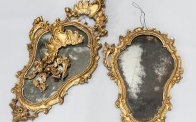 Pair of Italian Rococo Carved Gilt-gesso Mirrors
