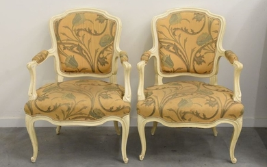 Pair of Louis XV patinated armchairs