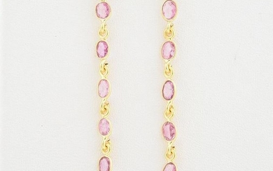 Pair of Pink Sapphire, 18k Yellow Gold Earrings.