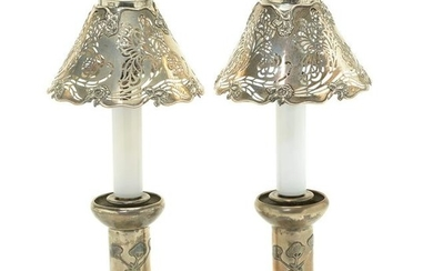 Pair of Sterling Silver Art Nouveau Style Table