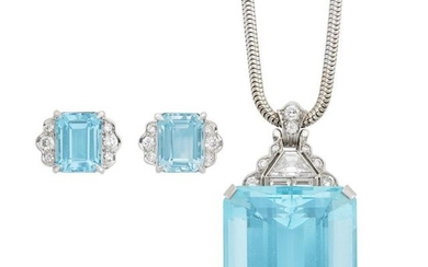 Platinum, Aquamarine and Diamond Pendant with White Gold Snake Chain Necklace and Pair of Earclips