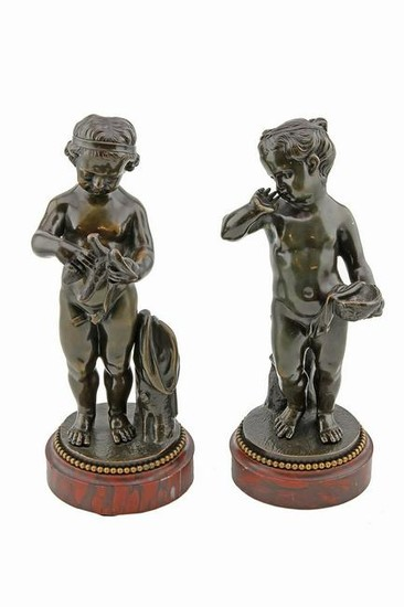 Pair of Antique French Bronzes of 2 Young Girls