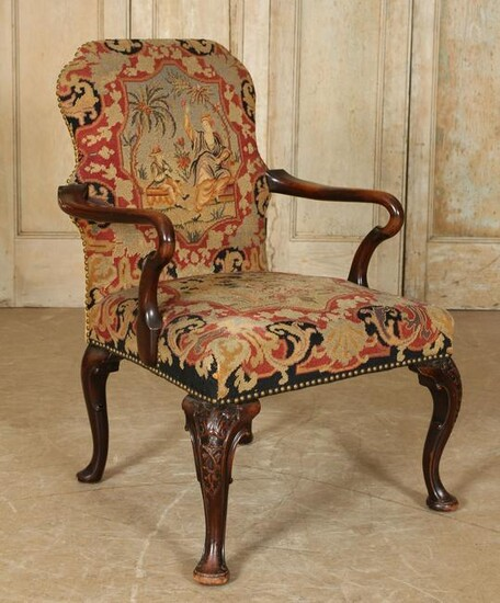 Queen Anne Style Needlepoint Tapestry Armchair