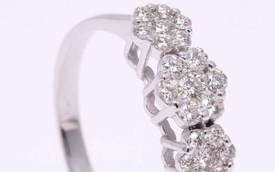 Ring floral motive with brilliant cut diamonds 0.65ct