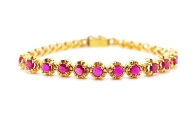 Ruby and rose gold bracelet marked 14k. Approx weight 9.7 gr...