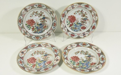 Set of 4 plates Family pink with birds...