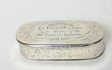 Silver snuff box, rectangular with rounded ends inscribed --...