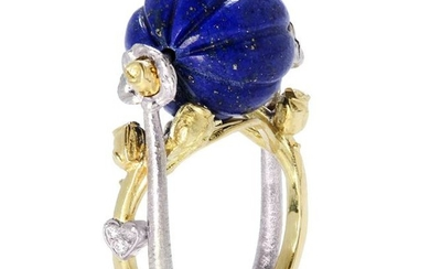 Stambolian Candy Lapis Ring with Floral Roses