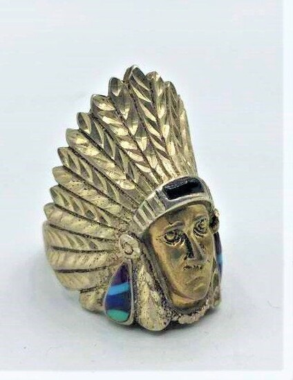 Sterling Silver American Native Indian Chief Ring