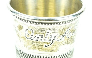 """Sterling Silver """"Just a Thimble Full"""" Shot Glass"""
