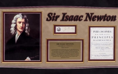 THE SIGNATURE OF ISAAC NEWTON mounted in a display...