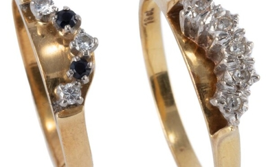 TWO 18CT GOLD DIAMOND AND GEMSET RINGS; one set with 5 single cut diamonds other with 2 round cut blue sapphires and 3 round brillia...