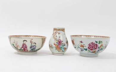 Two Chinese famille rose bowls and similar milk jug