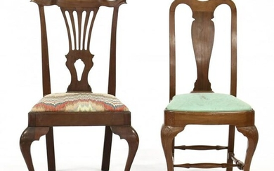 Two Chippendale Style Carved Mahogany Side Chairs