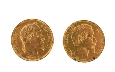 Two gold coins of 20 FF Napoleon III