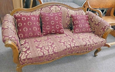 VICTORIAN STYLE WALNUT FRAMED SETTEE WITH SERPENTINE BACK &...