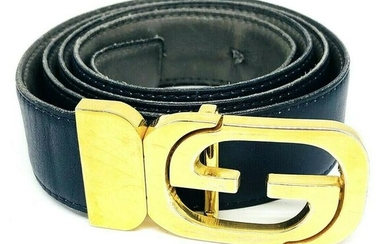 VINTAGE 1970's GUCCI Reversable Navy Grey Leather Gold