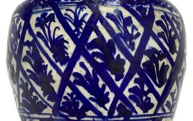 Vase glazed in colors of blue, Persia, nineteenth