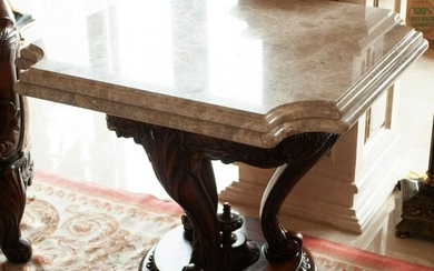 Vintage Baroque Style Carved Wood & Marble Table