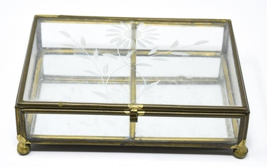 Vintage Gilt Metal & Etched Glass Jewelry Box
