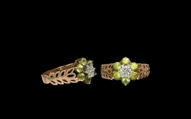 Vintage Gold Ring with Tourmalines and Diamond