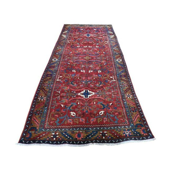 Vintage Persian Heriz Hand-Knotted Pure Wool Wide