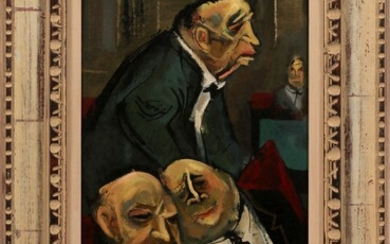 "WILLIAM GROPPER (AMERICAN, 1897�1977) OIL ON MASONITE, H 22"" W 12"" INVESTIGATING COMMITTEE"