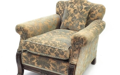 Walnut framed fireside chair with acanthus carved feet and g...