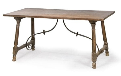 Walnut wood buffet with column-shaped legs joined by