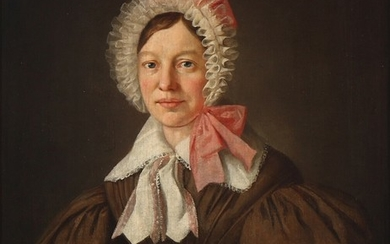 Wilhelm Bendz: Portrait of a woman wearing a brown dress and white bonnet tied with pink ribbons. Unsigned. Oil on canvas. 33×28 cm.